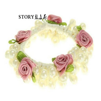 fashion Pink Rosebud flower Pearl Scrunchies pony tail hair tie hair band  bobble elastic 0745e80f1cd