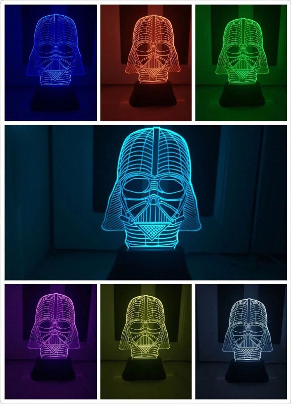 3D led lamp The Dark Knight USB button LED desk table light lamp Star War Darth Vader 3D Optical Illusion Desk Table Light Lamp