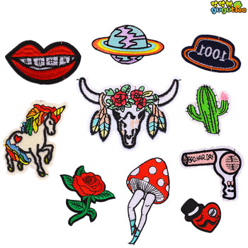 c71f28e6085e2 Bordado Rosa parche caballo sombrero letras applique hierro coser en parches  para ropa blusas