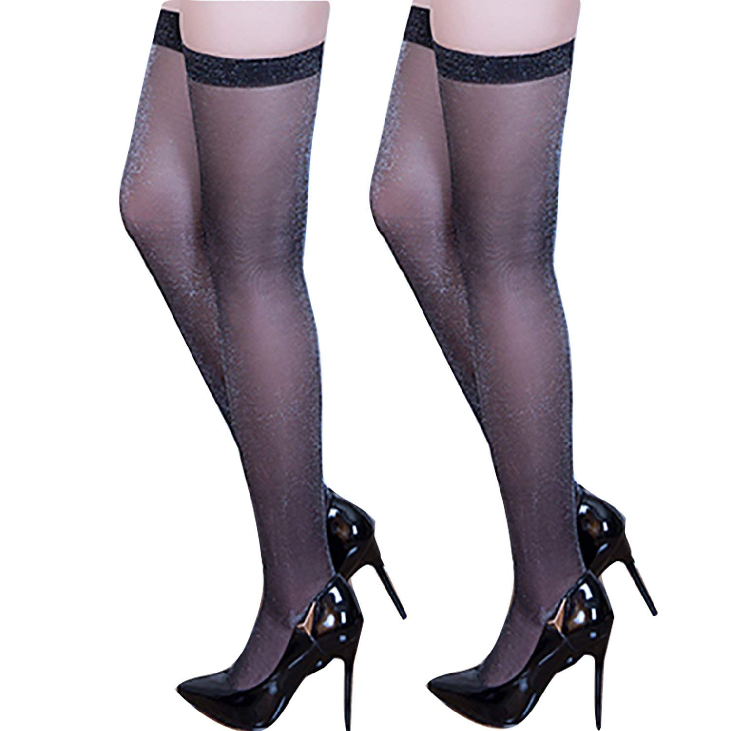 45a1f37e6 Get Quotations · MILIAN Sexy Sparkly Shiny Thigh High Stockings - Silk Over  Knee Stockings for Party or Dance