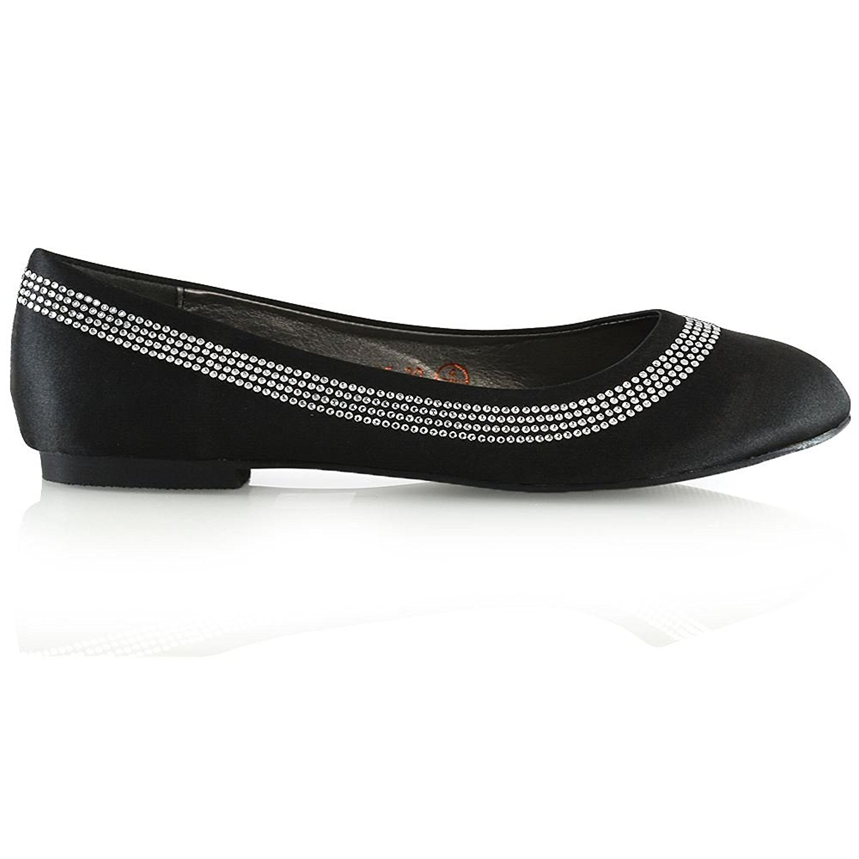 9fe3cc6f7813 ESSEX GLAM Womens Bridal Ballet Flats Ladies Slip On Satin Diamante  Bridesmaid Party Pumps Shoes