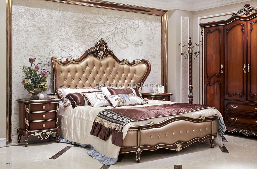 Italian Wood Bedroom Furniture Set Luxury Royal Bed Room Furniture