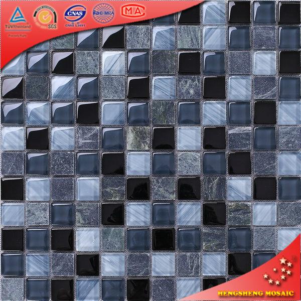 KS14 Matt azul oscuro y cristal vidrio mosaico azulejos Home Depot ...