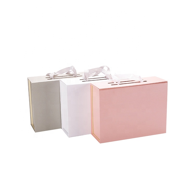 Luxury Design Logo Custom Pink Art Paper Coat Grey Board Foldable Paper Gidt Box with Ribbon Handle for Clothes