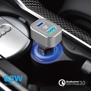 63W Car charger with PD power delivery , 3.0 quick charge car charger type c