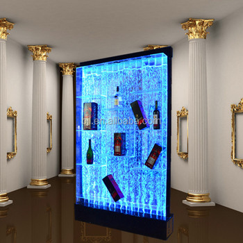 led lighting water bubble wall wine display cabinet mix color