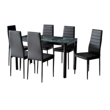 7 stück Home Küche Esszimmer <span class=keywords><strong>Metall</strong></span> Möbel Set mit Faux Marmor MDF Top Tisch + 6 Stühle <span class=keywords><strong>Metall</strong></span> Bein & rahmen