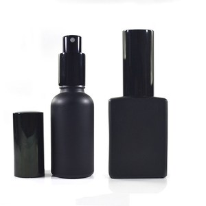 Cosmetic round rectangle Violet matte black 30ml 50ml 100ml refillable glass perfume spray bottle with aluminum spray pump cap