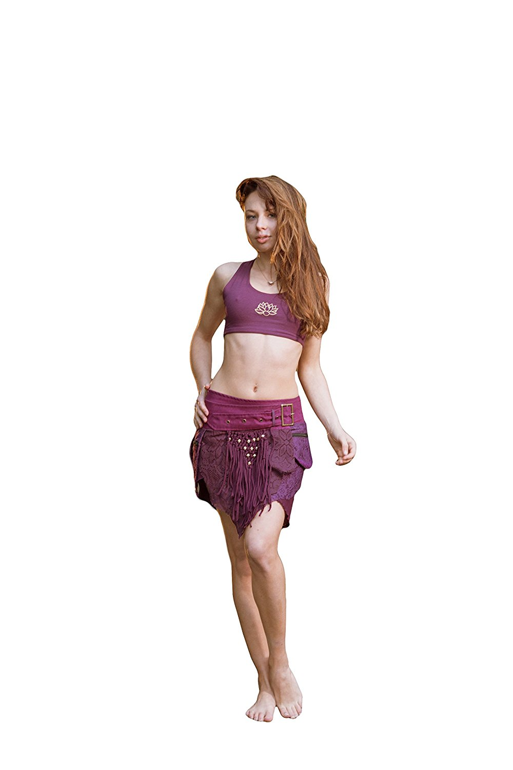 7f39b7cf66 Get Quotations · Alessia Studded Pocket Skirt- Stud Gypsy Festival Goa  Fairy Hippie Boho Wrap Skirt With Belt