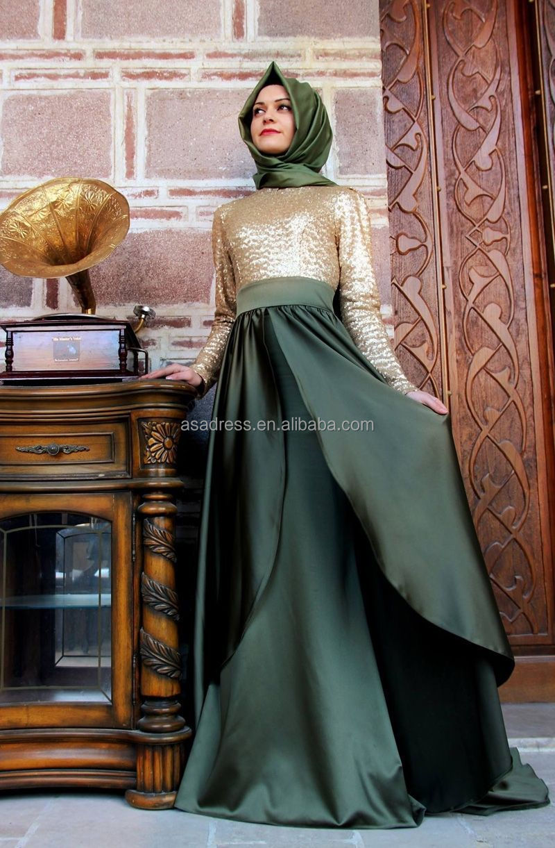 6d93f8ff6e80 ATE05 Top Design Arabic Lady Gowns High Collar Long Sleeve Two Color Muslim  Evening Dresses with