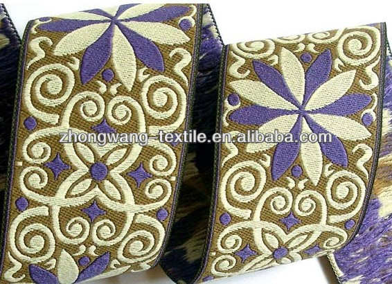 Blue pinwheel zinnia golden brown woven jacquard ribbon wholesale