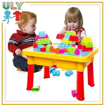 Marvelous Children Educational Block Table Kids Diy Stick Plastic Building Blocks Toys
