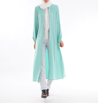 Muslim Clothing Simple Open Islamic Light green Fancy Modest islamic abaya Dress