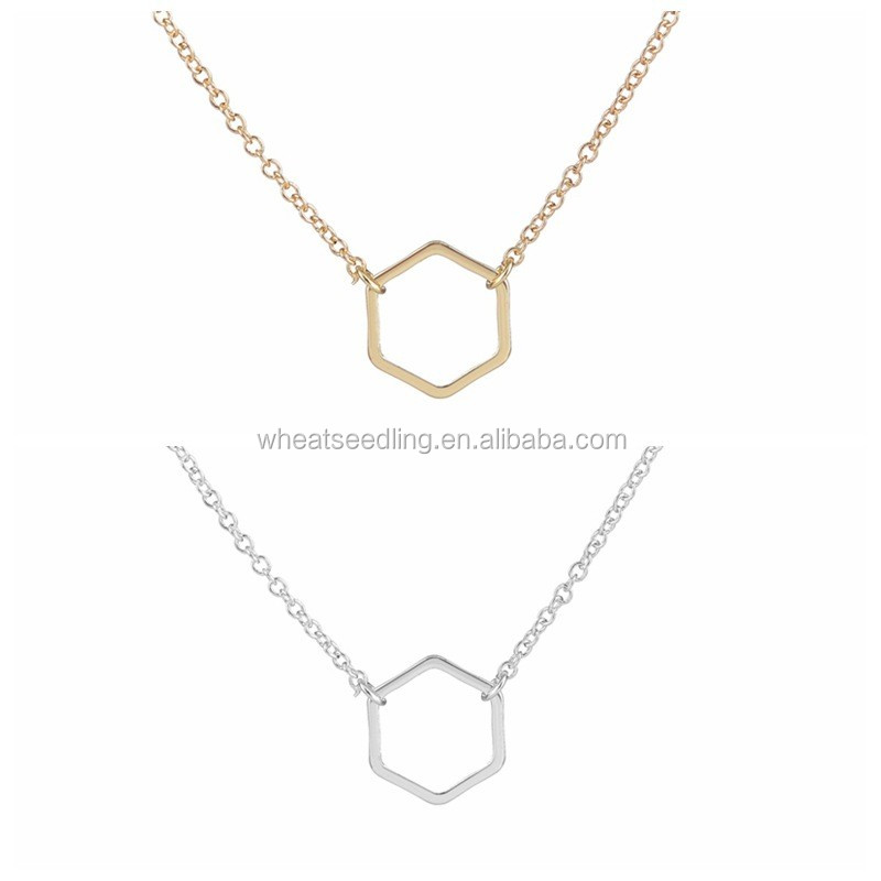 Simple and easy fashion hexagon necklace for nice women