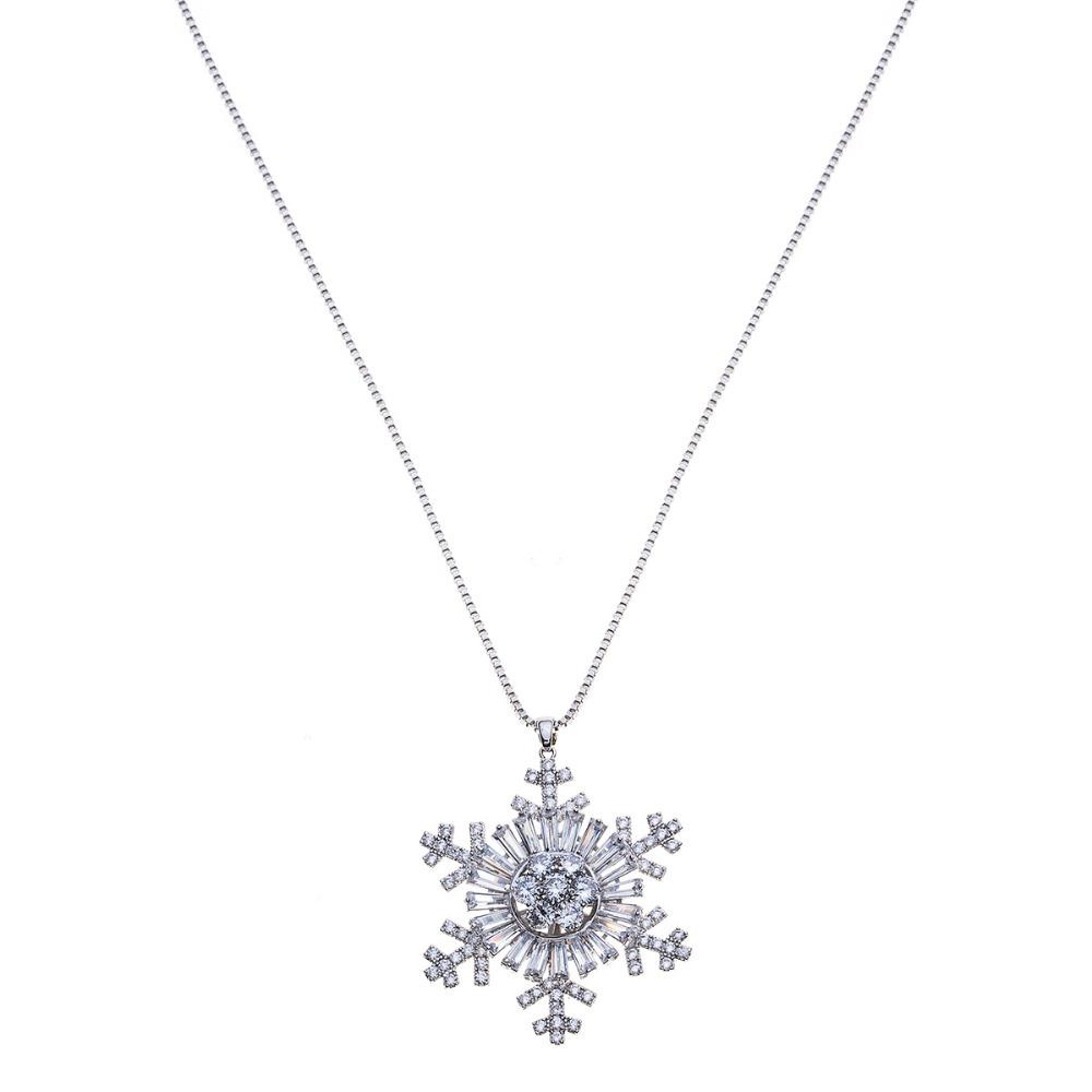 New Women Lady Sapphire Crystal Snowflake Frozen Flower Silver Necklace Pendant