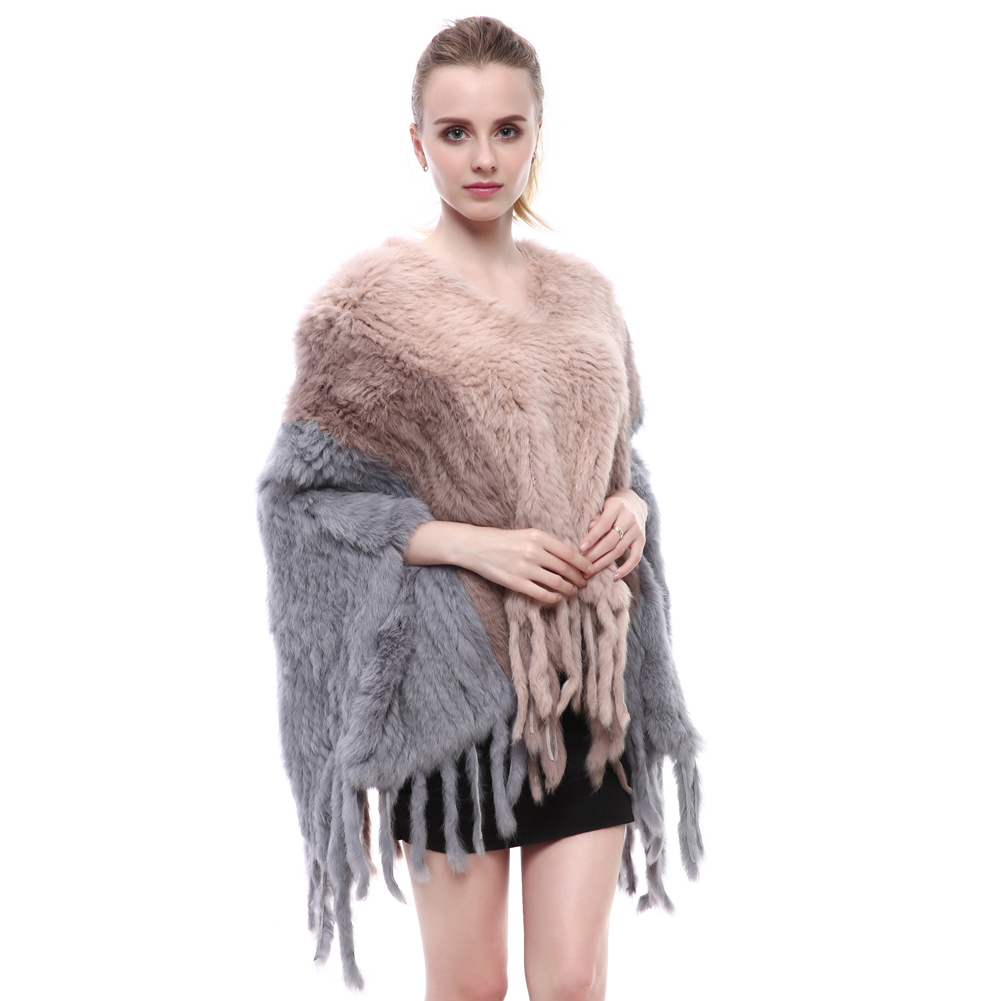 New Women Fashion Pullover Knitted Genuine Rabbit Fur Poncho Cape Real Fur Knit Wraps Shawls Coat