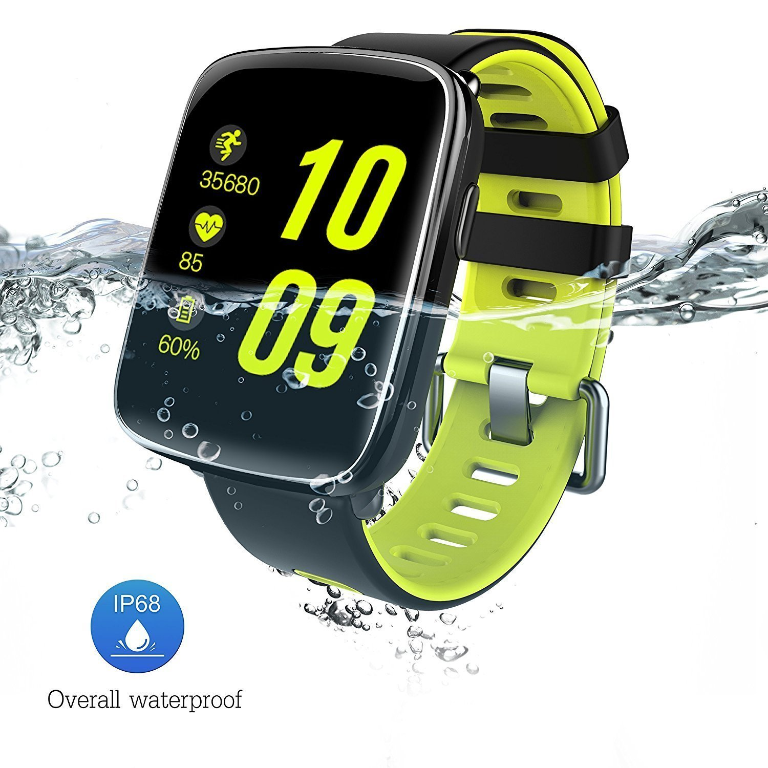 Waterproof Bluetooth Smart Watch Phone Mate / Fitness Sport Smart Watch IP68 with Heart Rate Pedometer Camera and Sleep Monitor for iOS and Android Smartphones GV68 by Emperor of Gadgets