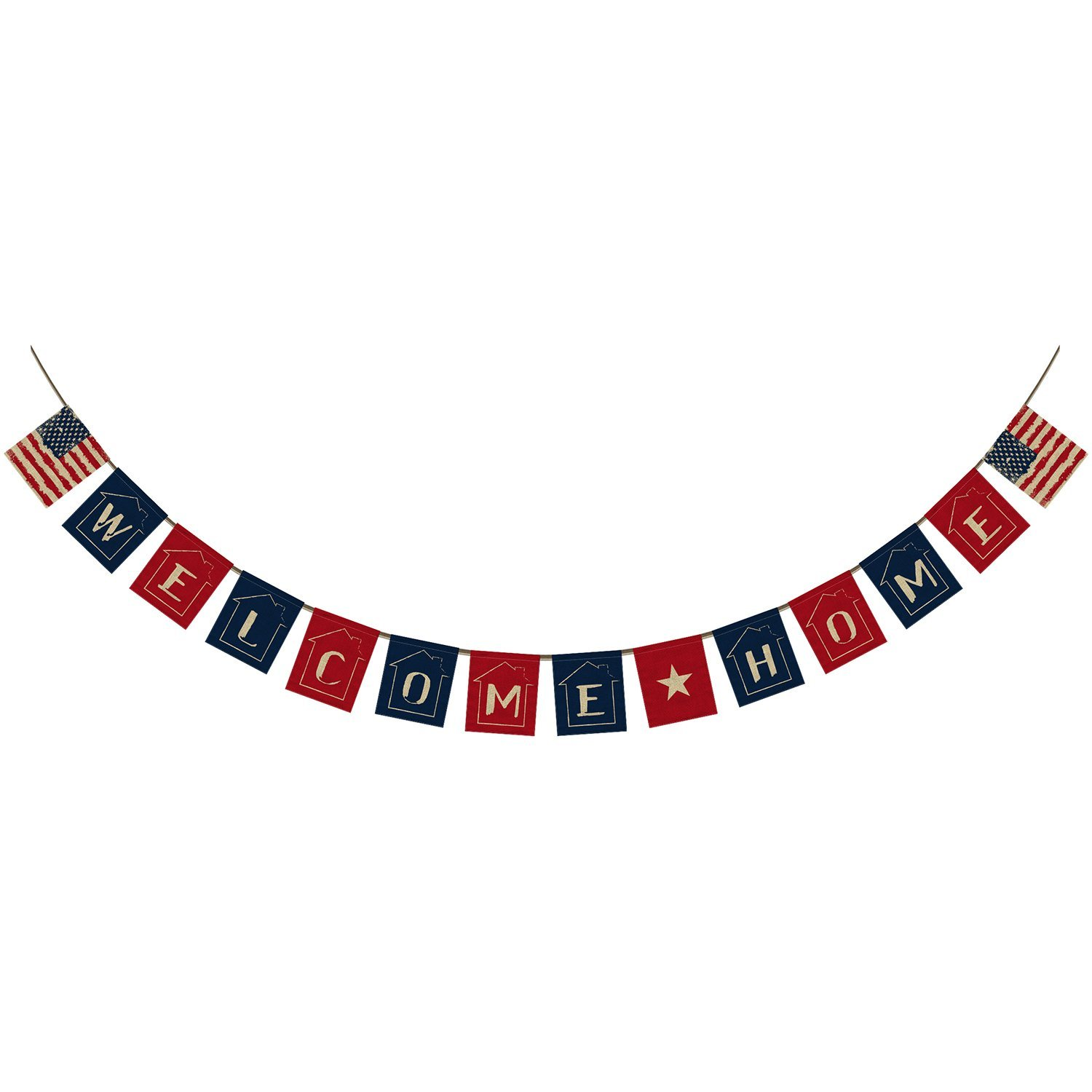 Welcome Home Banner Bunting,US American Flag Colorful And Sweet House Background Banner Garland Flag for Home Family Party Decoration Photo Props