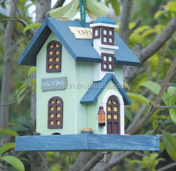 Eco-Friendly,Fsc hanging wooden bird house ,bird cage ,WOODEN bird feeder