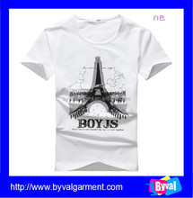 2015 New arrival men t-shirts print and embroidery design with Eiffel Tower pattern