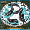 round beach towel with tassel fringe Feather patterns Beach towel type