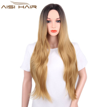 Ombre Blonde Wig Long Curly Wavy Wigs For Black Women Heat Resistant  Synthetic Cosplay Blonde Wigs 05a2187ff0