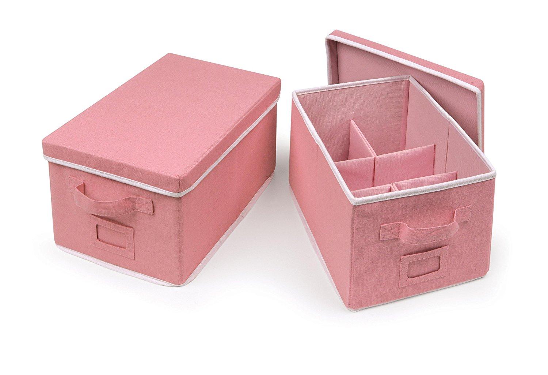 Badger Basket Folding Storage Baskets with Adjustable Dividers, Pink, Medium, 2 Count