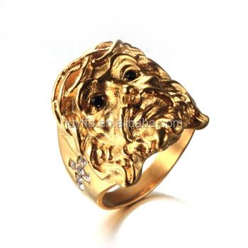 3xb 021 Royal Gold Ring Designs For Men Stainless Steel Christian