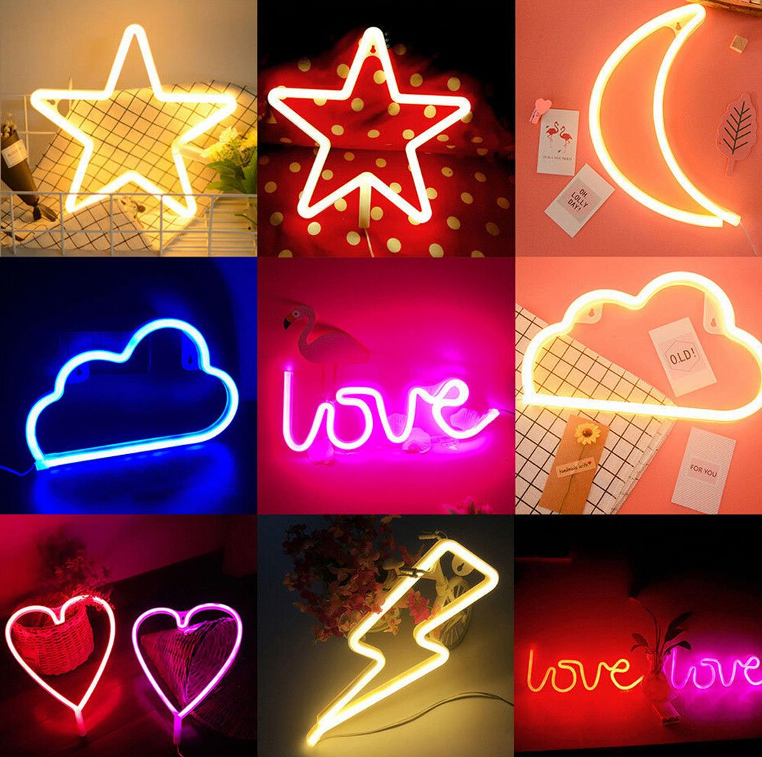 Neon Light LED Moon Cloud Love Heart Lightning Star Neon Signs Art Wall Lighting Decor for House Bar Recreational, Birthday Party Kids Room, Living Room, Wedding Party (warm white cloud)