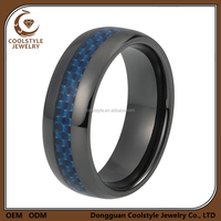 Newest blue carbon fibre tungsten ring , black tungsten ring for wedding band