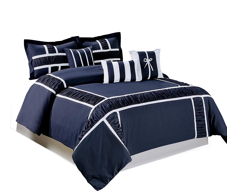 BEDnLINENS 7 Piece MARMA Ruffle & Patchwork Comforter Sets Queen King CalKing (Queen, Navy/White)