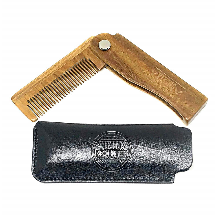 natural wooden folding sandalwood beard comb