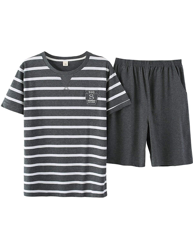 fe8760f1cdd Big Boys Pajamas Set Fashion Striped Tops with Shorts 8-16 Years