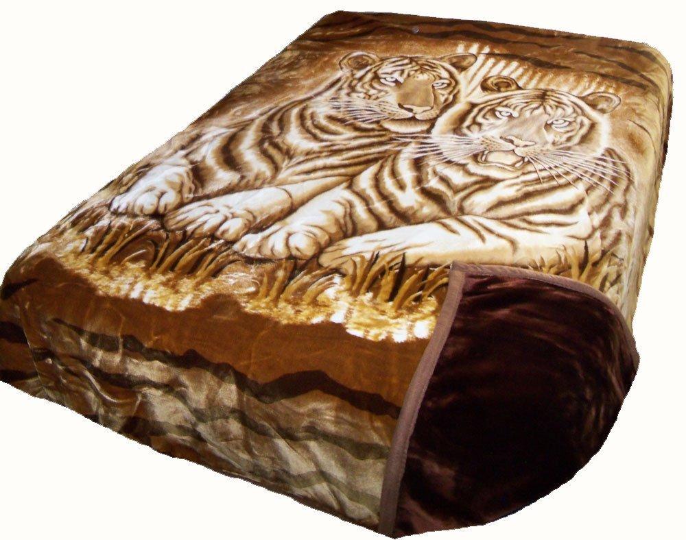 Solaron King Two-Ply White Tigers Mink Blanket (Brown)