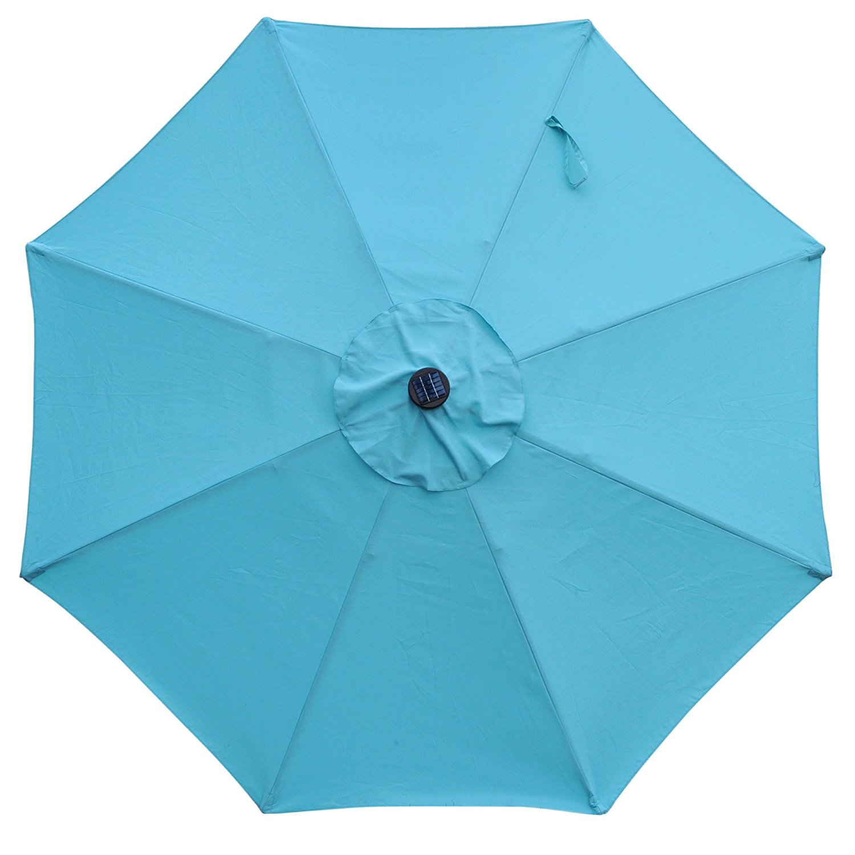 9 Ft Aluminum Solar Patio Umbrella With 32 Led Lights Fade