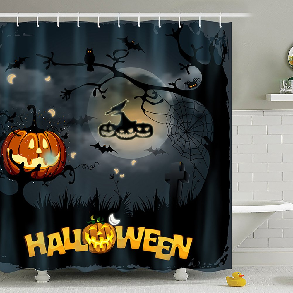 get quotations meelino halloween scary ghost pumpkin witch waterproof antibacterial polyester shower curtains with hooks bathroom home decorative