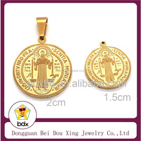Top Quality St Benedict Charm Stainless Steel 18K Gold Plated Catholic San Benito Glamour Religious Round Pendant For Christians