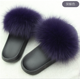 Fashion Girls Pink Beach Slipper Real Fur Slippers for SALE/ Women Fox Fur Slides