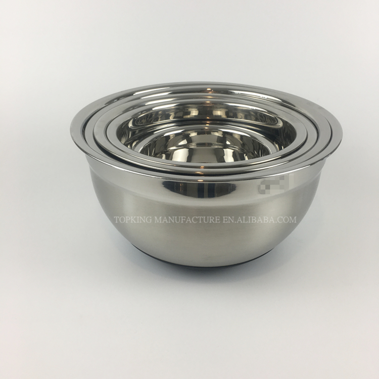 SS 304 Salad Rice Snack Bowl Cheap Stainless Steel Mixing Nesting Bowl