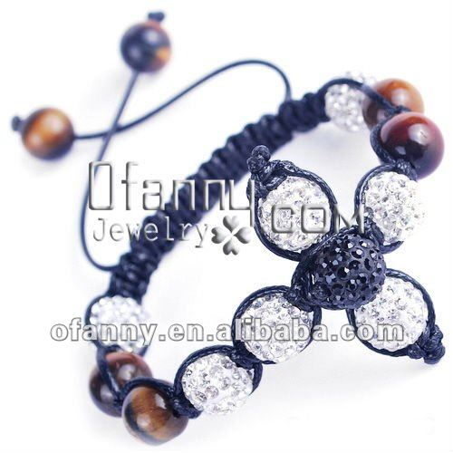 Fashion Brown Crux Beaded Bracelet Pave Tiger Eye Clay Disco Ball Beads