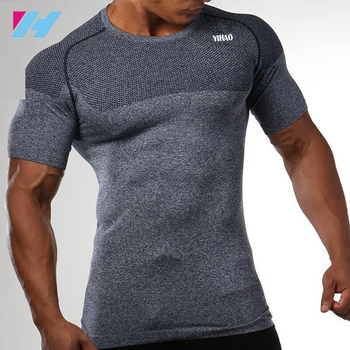 82466443 Seamless High quality custom gym wear wholesale compression blank Dry fit  muscle men t-shirt