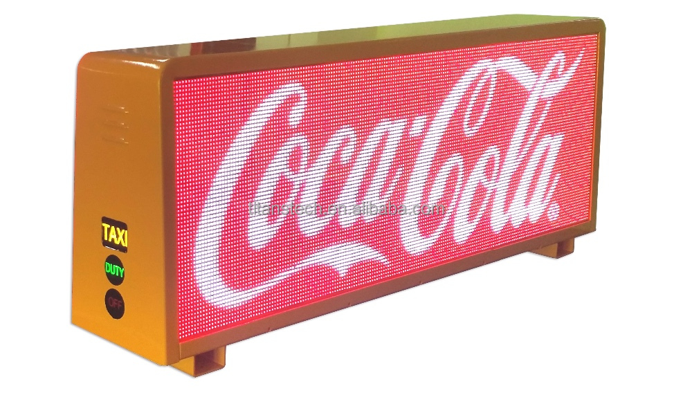 Outdoor full color double sides Taxi vehicle P5 video led taxi top sign /truck mobile led display board