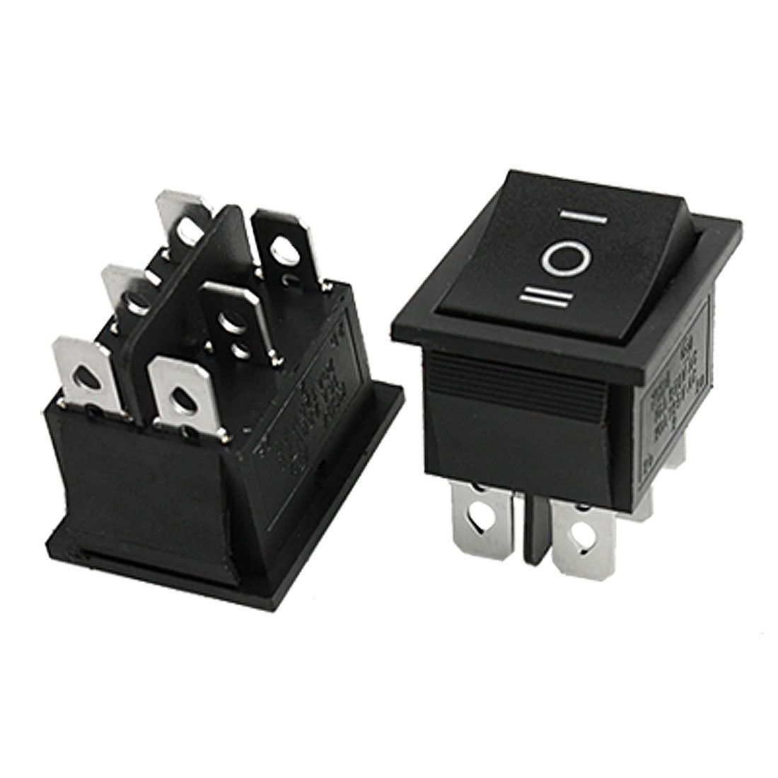 Baomain 2pcs 6 Pin DPDT ON-OFF-ON 3 Position Snap in Rocker Switch 15A/250V 20A/125V AC