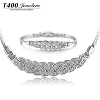 2016 Romantic design! T400 Crystal and 925 Silver Necklace/BANGLE party Jewelry Sets for Women #S001