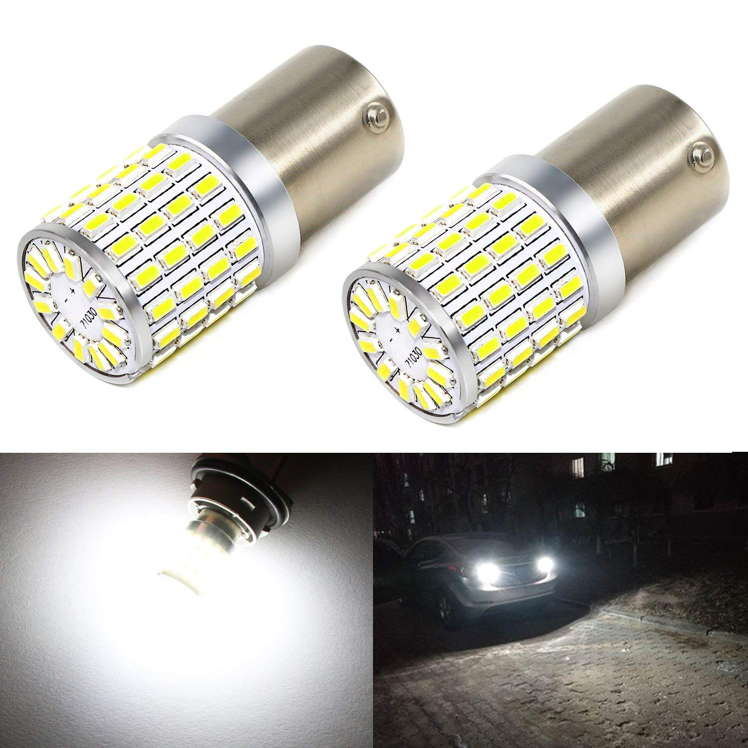 Carr Lighting 1000 Lumens Super Bright 6000K Xenon White 3014 72-SMD BA15S 1156 1073 7506 LED Light Bulbs for Backup Reverse Lights