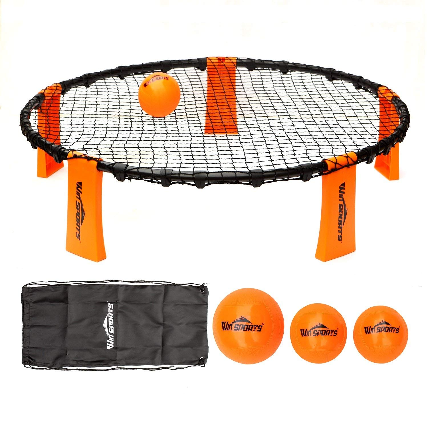 Win SPORTS Volleyball Spike Game Set丨Slam Ball Game Set丨Fun for Kids,Adults,Family丨Perfect for Beach, Backyard, Tailgate-Includes 3 Balls,1 Playing Nets,1 Pump,Carry Case,Rules Book