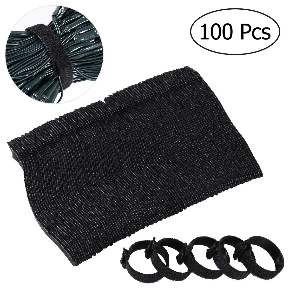 OUNONA 100pcs Cable Ties 6 Inch Fastening Cable Ties with Reusable Hook and Loop Strap Cable Ties for Organizer Fastening (Black)
