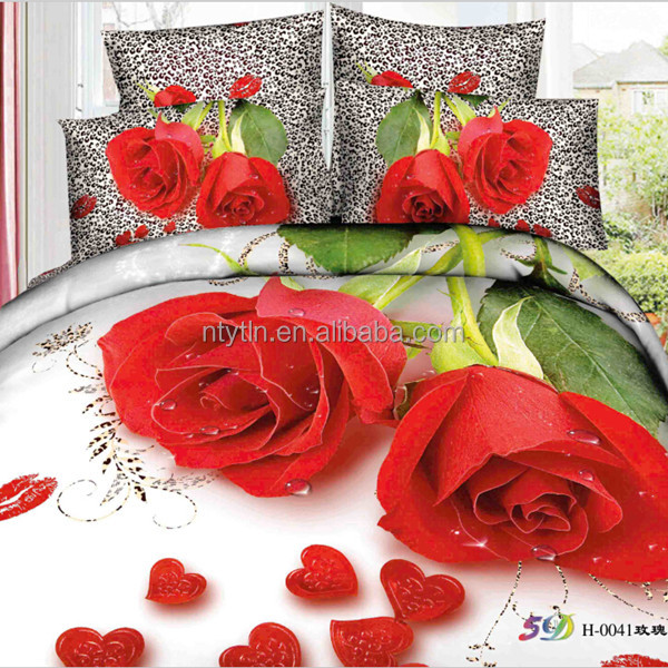 100%cotton 3D flower design printed home textile bedsheet S-YDN-0041