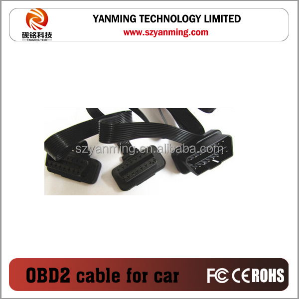 Flat Noodle OBDII OBD-II OBD 2 OBD2 16 Pin ELM327 Male To dual Female Y Splitter Elbow Extension Cable