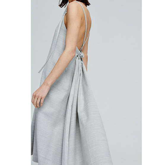The New Light Grey Women's Vest Skirt In Summer 2018 Light Grey Pleated Halter Dress